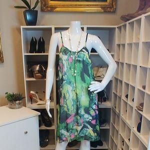 AARON ASHE SHORT BRIGHT PRINT TANK DRESS M